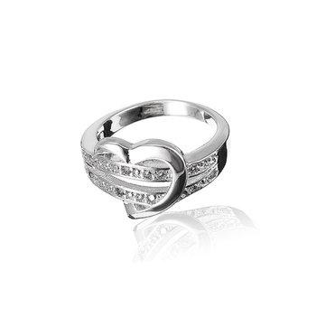 Anello di barretta di cristallo placcato argento