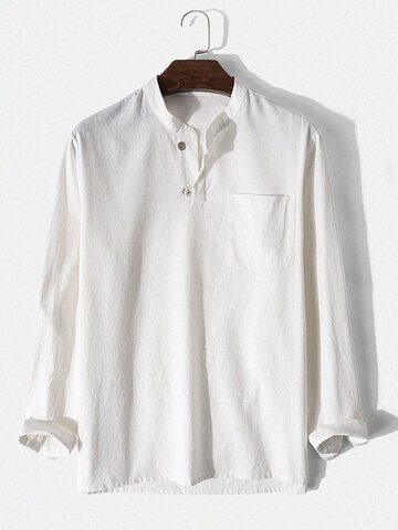 Brief Style Solid Cotton Henley Shirt