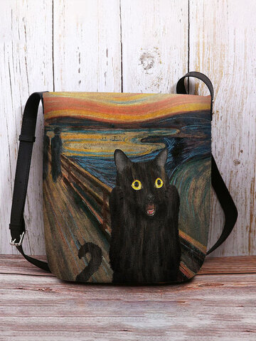 Black Cat Pattern Painting Crossbody Bag Shoulder Bag
