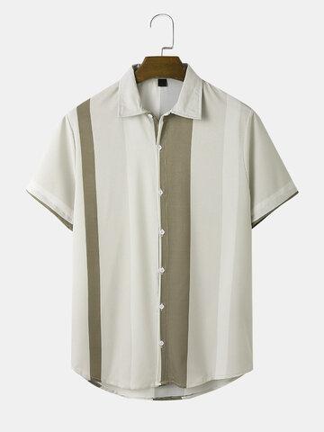Striped Curved Hem Holiday Shirt