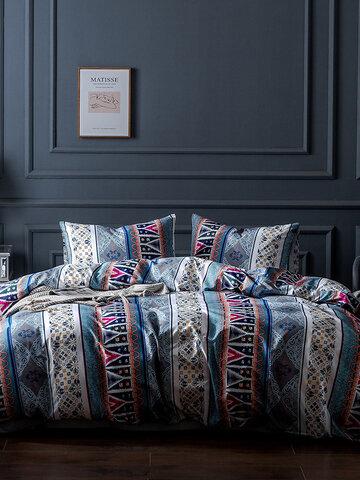 2/3 Pcs Bohemian Stripe Print Comfy Bedding Set Duvet Cover Pillowcase Twin King