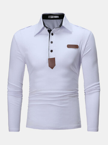 Faux Leather Detail Epaulets Golf Shirts