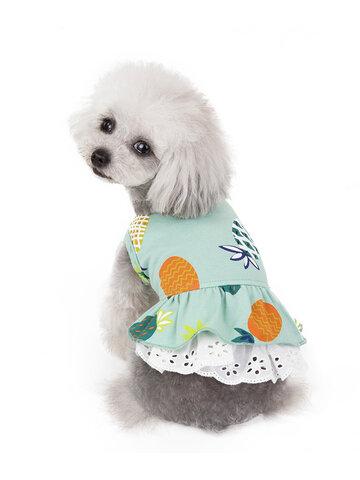 パイナップルパターンペットスカート春と夏の猫犬