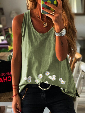 Daisy Floral Printed Tank Tops