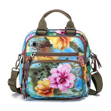 Outdoor Mommy Bag Flower Pattern Shoulder Bag
