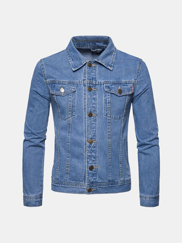 Men's Classic Washed Denim Jackets, Light blue navy blue