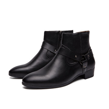 Men Comfy Pointed Toe Black Harness Boots