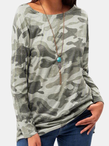 Camouflage Printed Long Sleeve T-shirt