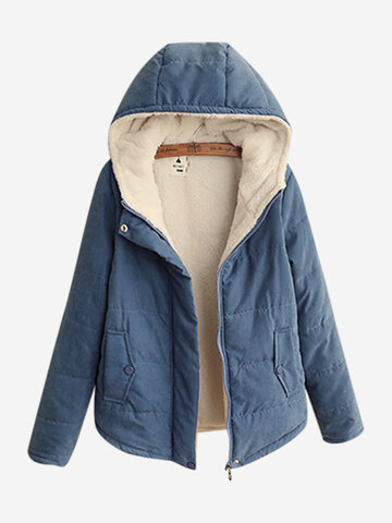 Solid Color Cotton Hooded Coat