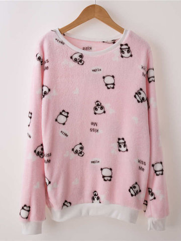 Cartoon Printed O-neck Coral Fleece Sweatshirt