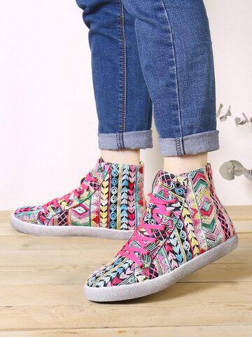 SOCOFY Colorful Embroidered Cloth Casual Sneakers Skate Shoes