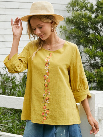 Flower Embroidery Casual Blouse