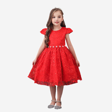 Vestido formal de lantejoulas para menina