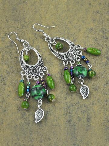 Metal Leaf Tassel Earrings