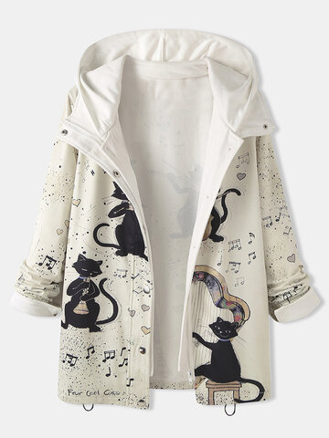 Cartoon Cat Print Patchwork Coat