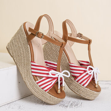 LOSTISY Cross Striped Band Wedges Sandals