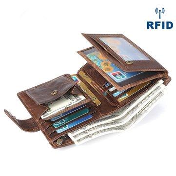 Portefeuille trois volets vintage en cuir véritable avec multi-fentes pour carte
