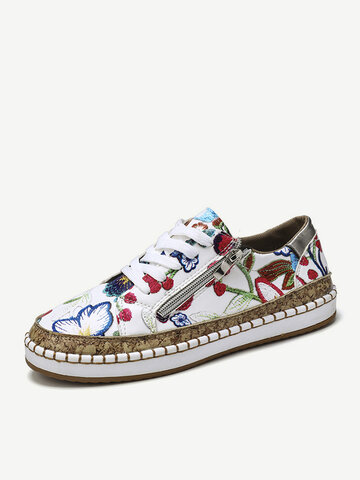 Large Size Women Folkways Printing Comfy Wearable Casual Chunky Low top Flats