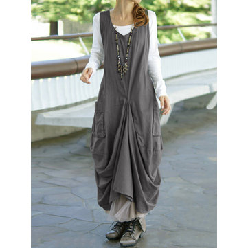 Strappy Backless Casual Maxi Dress, Grey black