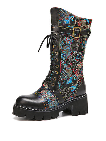 Retro Flowers Cloth Leather Splicing Fashion Mid-calf Boots