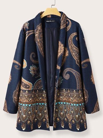 Casual Ethnic Print Vintage Jacket
