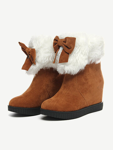 Folded Bowknot Ankle Warm Winter Furry British Style Flat Boots