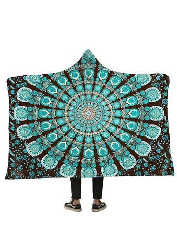 Flannel Green Peacock Hooded Blanket