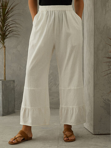 Solid Wide Leg Pant