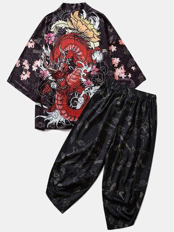 Loong Gragon Print Kimono Outfits