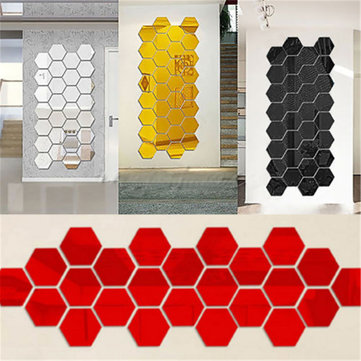 12Pcs 3D Mirror Hexagon Vinyl Removable Wall Sticker