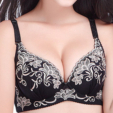 Sexy Push Up Plunge Reúna Respirável Bordado Adjustable Bras