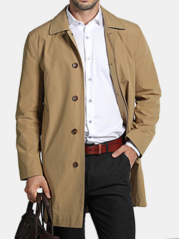 Mens Casual Turn-down Collar Slim Fit Overcoat Trench Coat