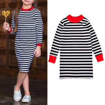 Elegant Stripe Toddler Girls Dresses