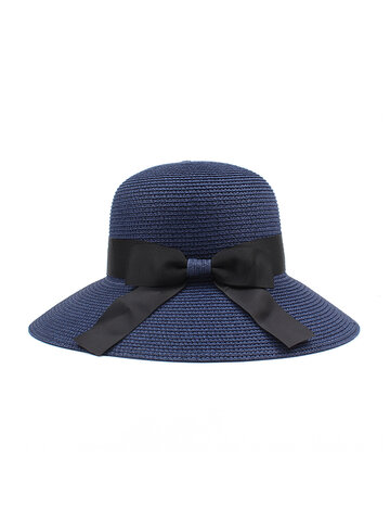 Women Straw Wide Brim Bucket Hat
