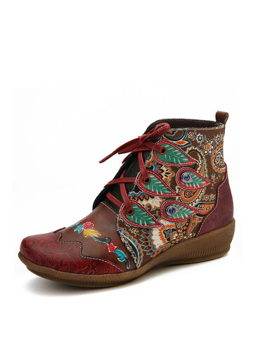 Folkways Pattern Red Ankle Boots For Womens