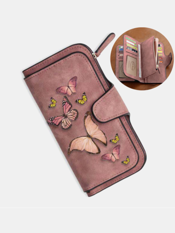 5.5 Inch Phone Bag Butterfly Four Fold Wallet