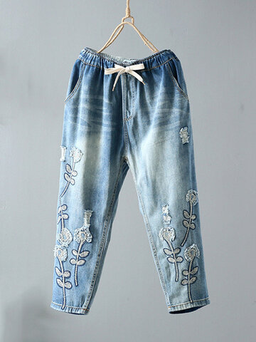 Floral Embroidery Drawstring Denim