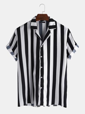 Striped V Neck Button Down Shirt