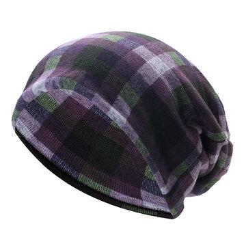 Grid Skullies Beanies Cap Knitted Cotton Bonnet Hat