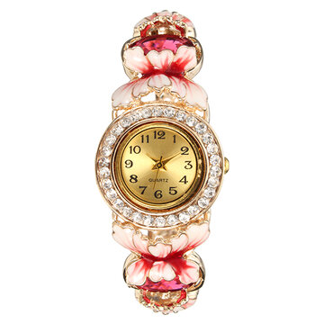 Cloisonne Luxury Watch Flower Bow Knot Rhinestone Crystal Women Watch