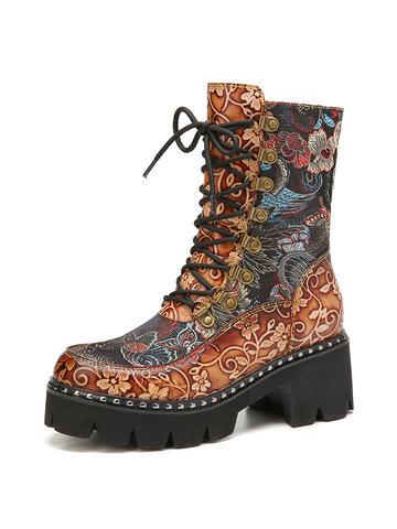 SOCOFY Retro Blumen Stoff Spleißen runde Zehen Blumen geprägtes Leder bequeme kurze Stiefel