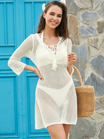 Knit Hollow Out Bandage Neck Cover Up