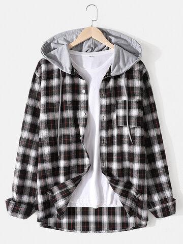 Plaid Drawstring Hooded Shirts