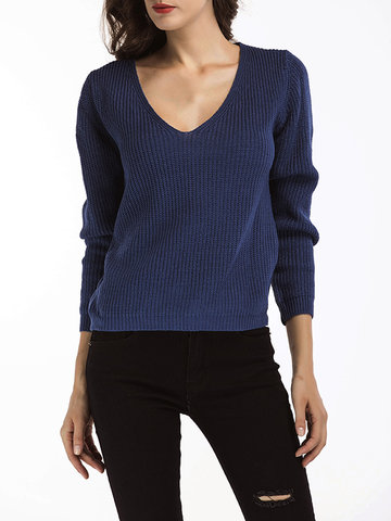 Solid V-Neck Pullover Casual Knit Sweaters фото