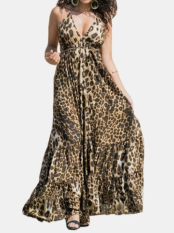 Leopard Print Halter Maxi Dress