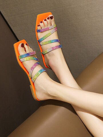 Casual Sequined Colorful Strappy Stripe Slippers