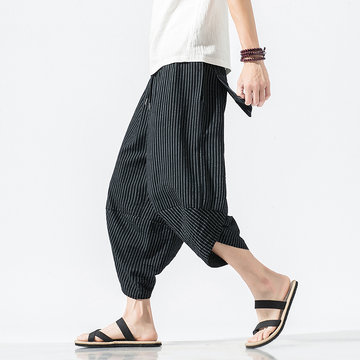 Herren Striped Plain Drawstring Haremshose