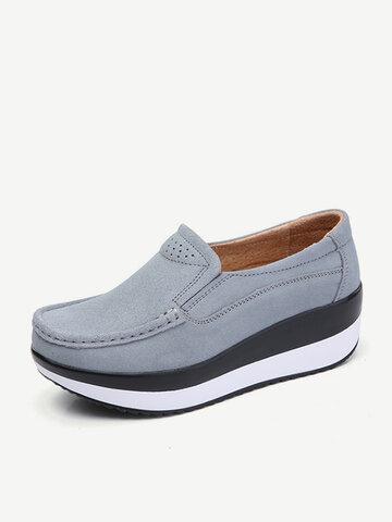 Sapatos de Tamanho Grande Sola de Rocker Sapatos de Suede Slip On Casual