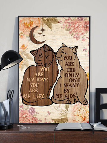Valentine Cats And Letter Pattern Canvas Painting Unframed Wall Art Canvas Living Room Home Decor