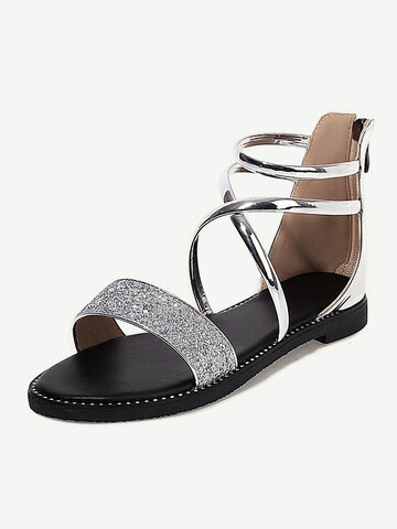 Daily Sequined Decor Band Stripe Sandals